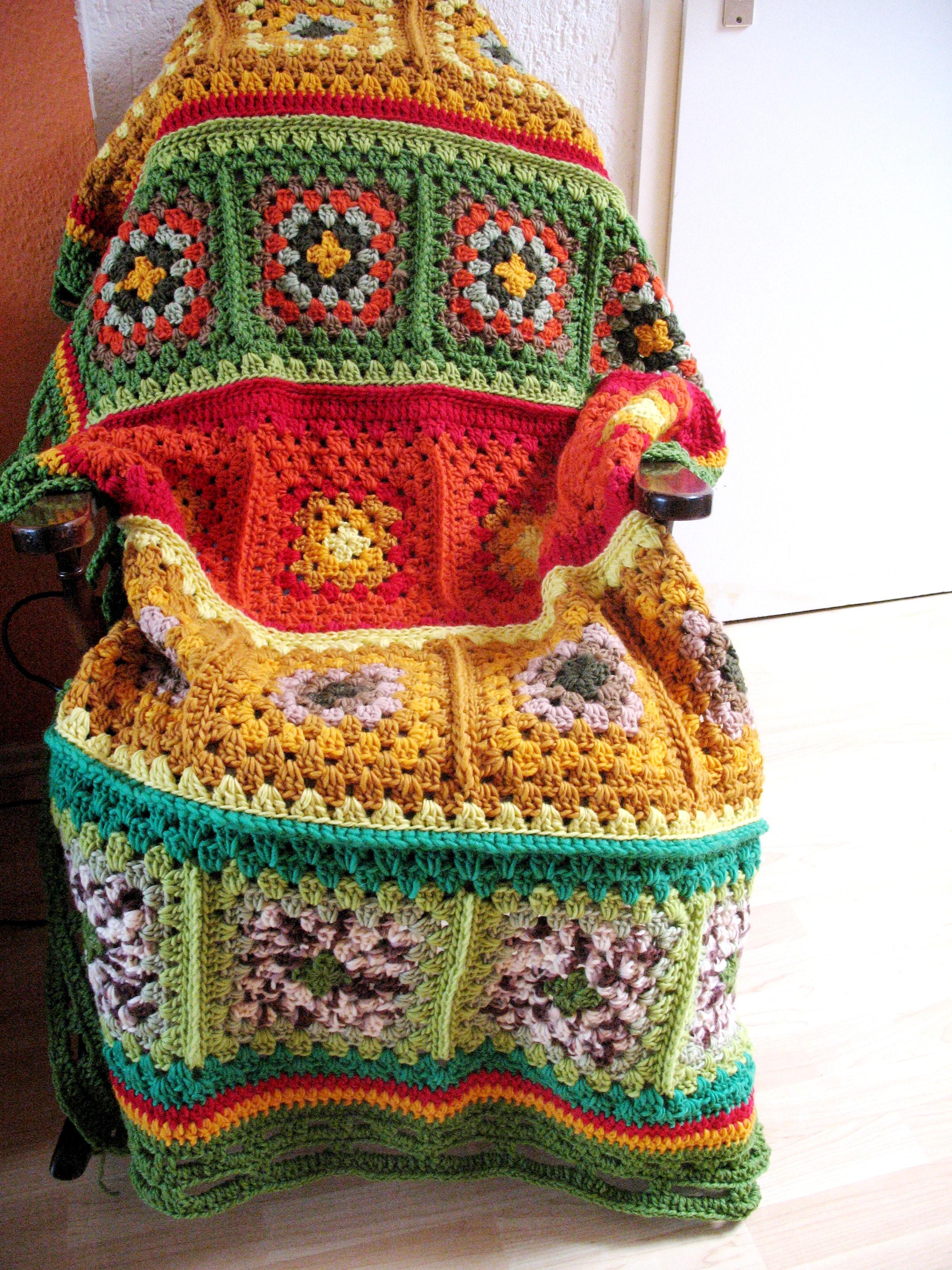 Granny Square Felted Rug  TeppichArt